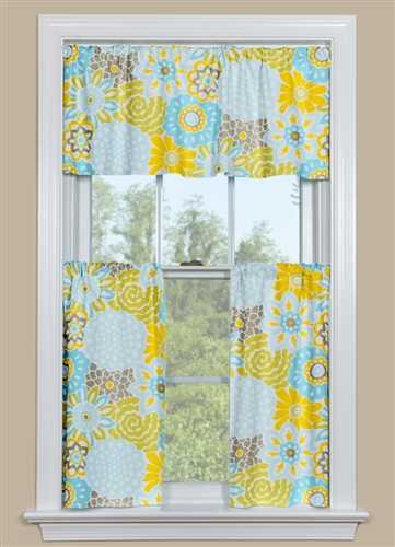 Yellow and blue kitchen curtains photo - 3