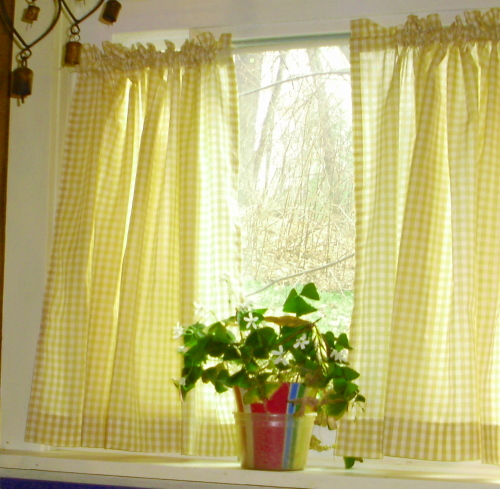 Yellow kitchen curtains photo - 2