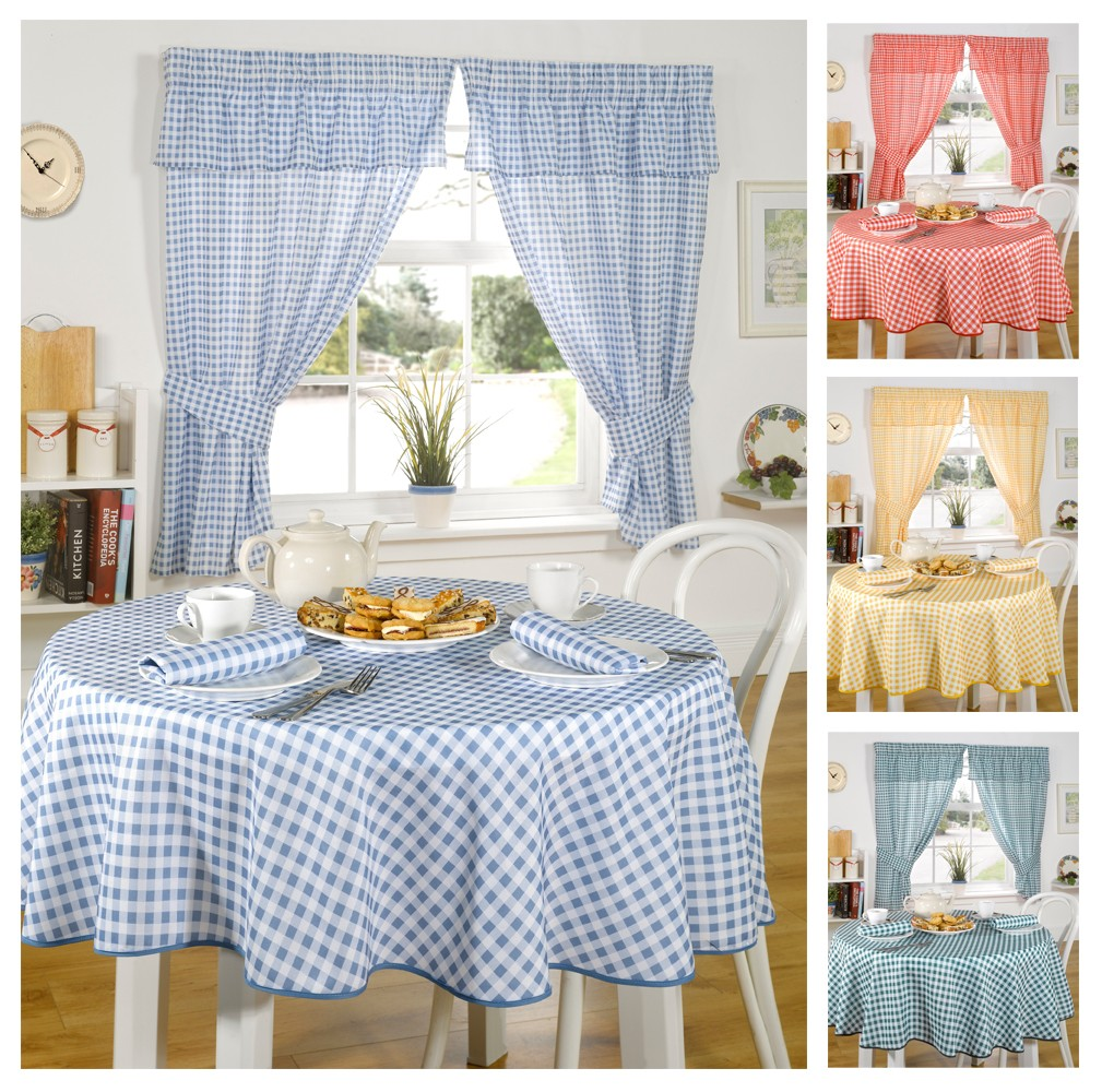 Blue and white kitchen curtains - Gingham Kitchen Curtains Ideas
