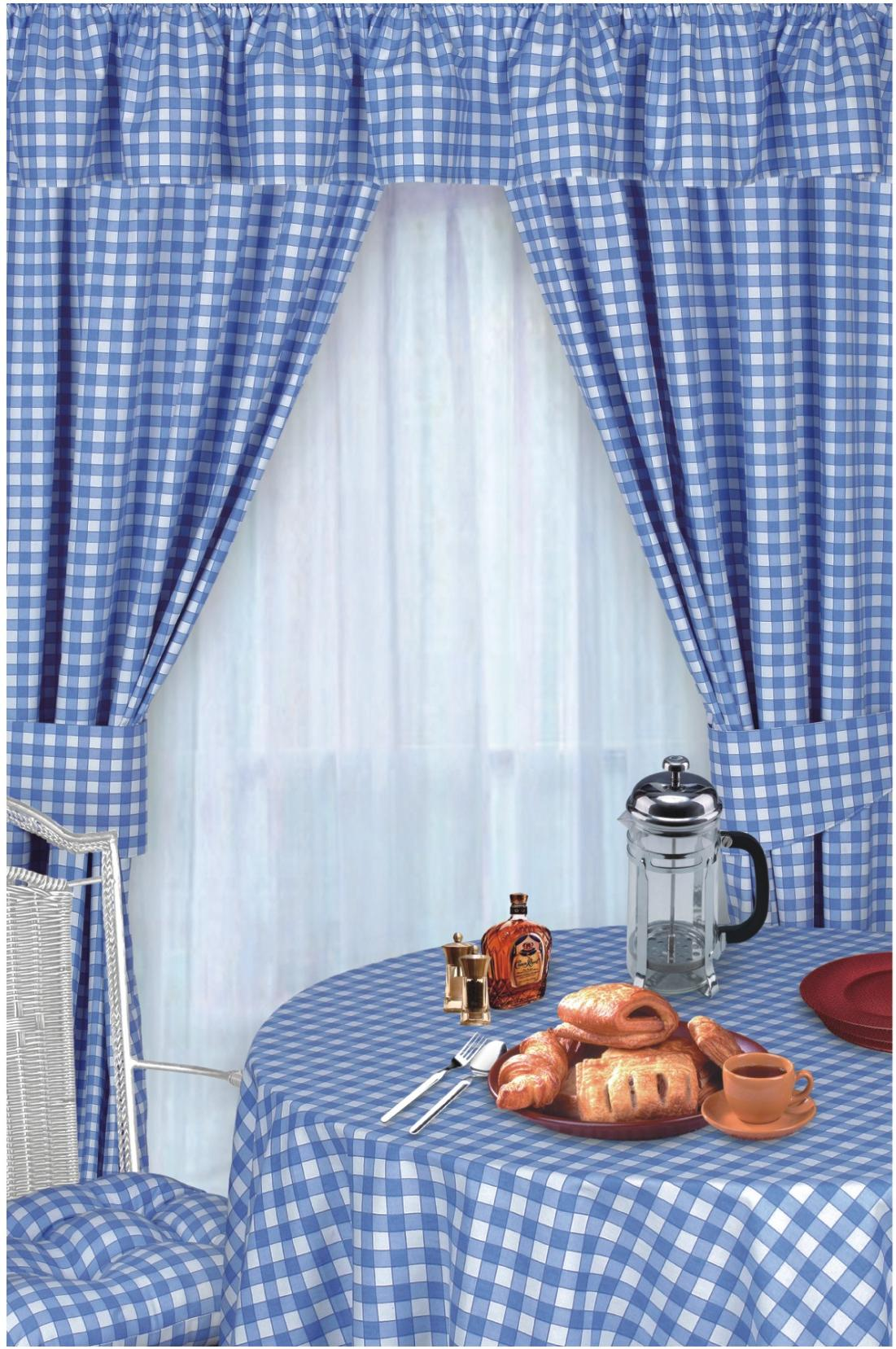 Blue And White Plaid Kitchen Curtains